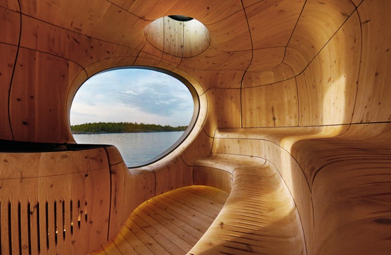 "COOL THING WE WANT #454 | This Woody, Gorgeous, Curvy ""Grotto Sauna"" With A View"