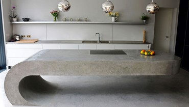 COOL THING WE WANT #489 | Cantilevered, Curvaceous Polished Concrete Kitchen Island