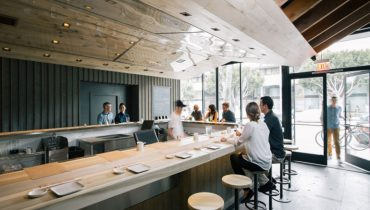 RESTAURANT PORN | Eucalyptus Bar Top Sets Cool Tone At 24 Seat, Hand-Rolled Sushi Joint
